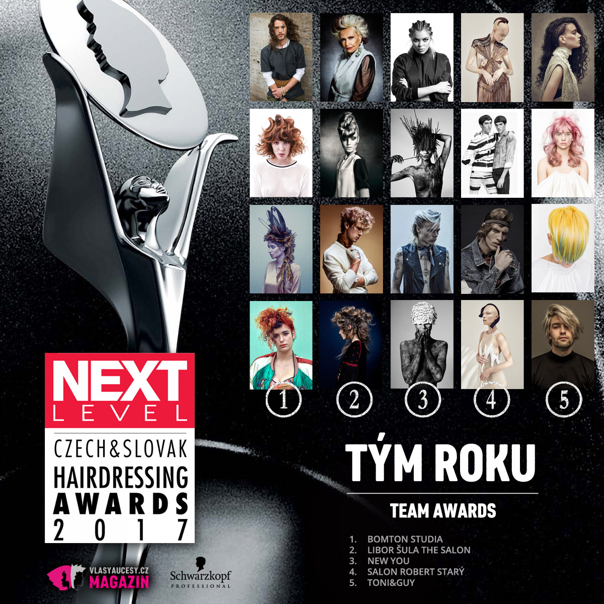 Czech&Slovak Hairdressing Awards 2017 – kategorie Tým roku.