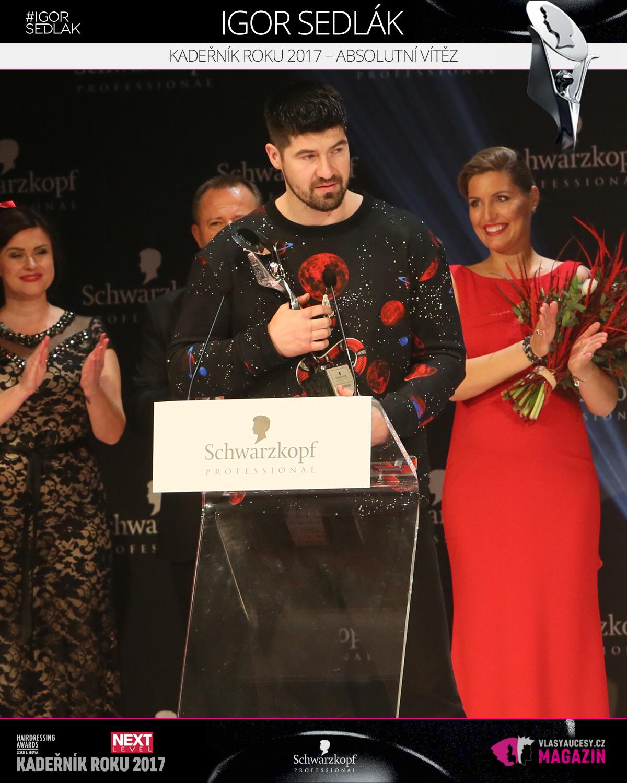 Igor Sedlák (Salón Igor Sedlák Prešov) – absolutní vítěz, Kadeřník roku 2017 soutěže Czech&Slovak Hairdressing Awards 2017.