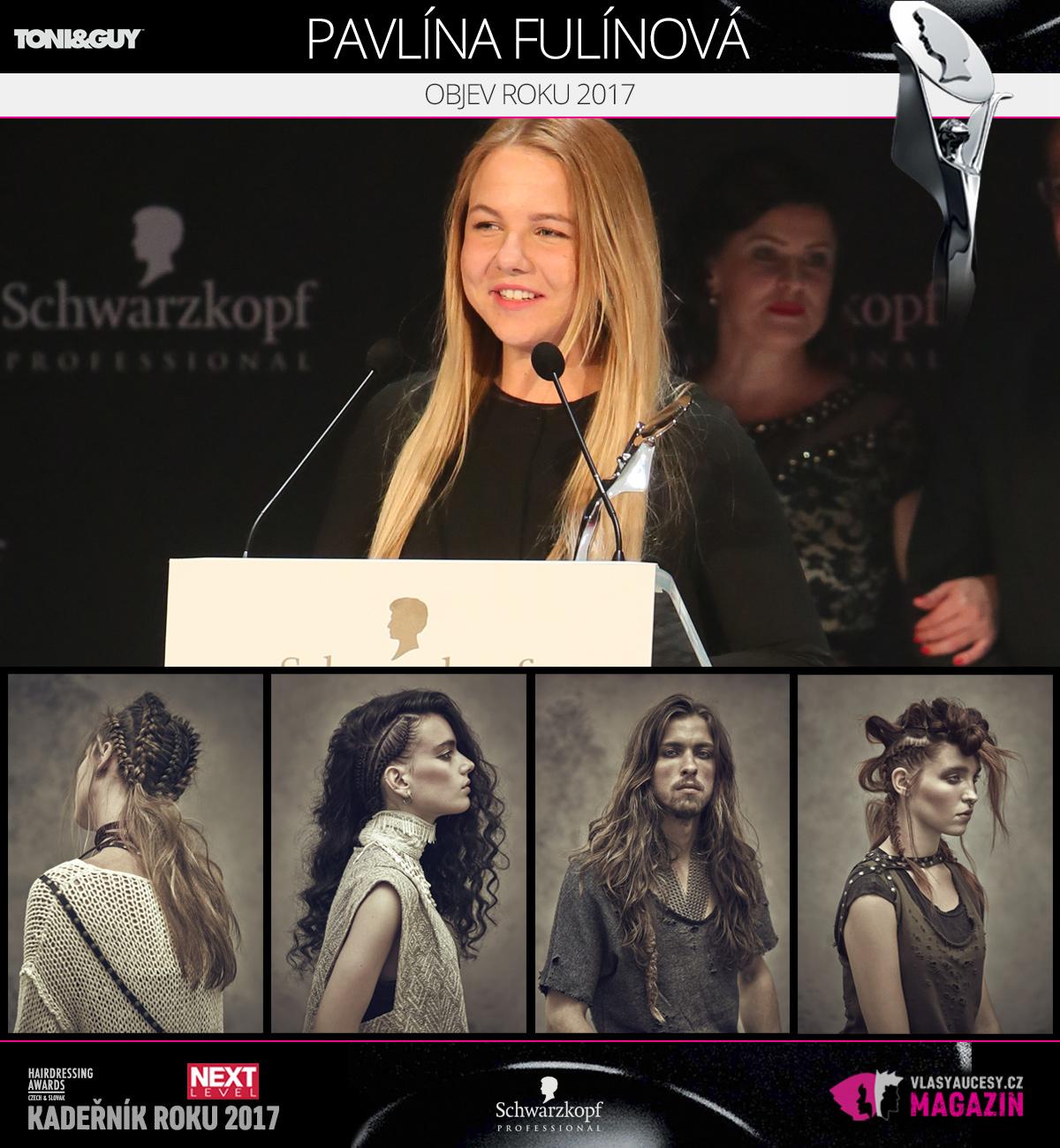 Pavlína Fulínová (Toni&Guy Praha) – Objev roku 2017 soutěže Czech&Slovak Hairdressing Awards 2017.