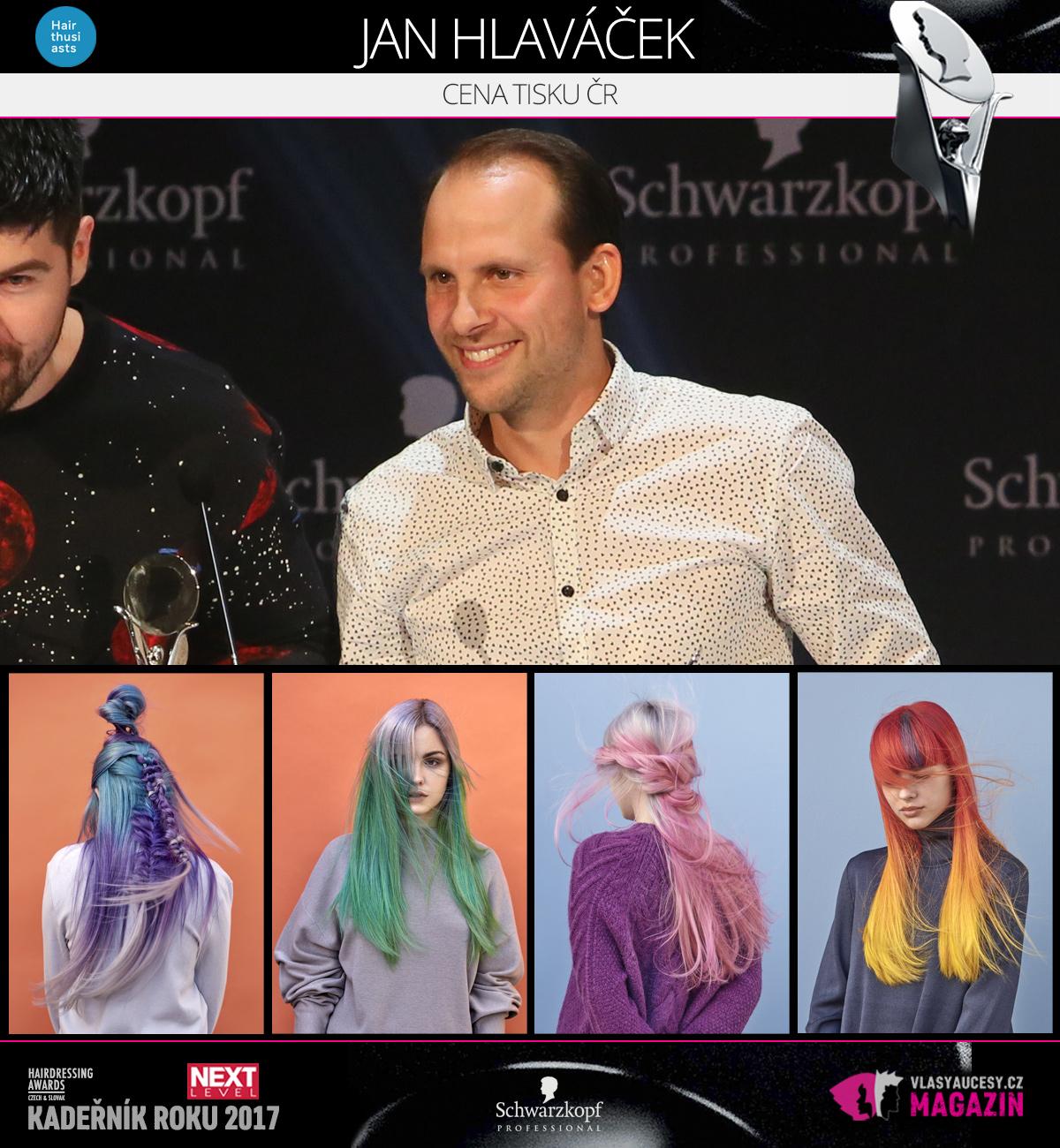 Jan Hlaváček (Hairthusiasts) – Cena tisku CZ 2017 soutěže Czech&Slovak Hairdressing Awards.