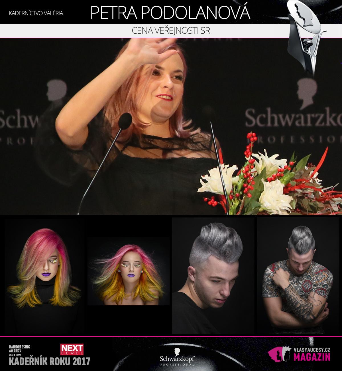 Petra Podolanská (Kaderníctvo Valéria Brokešová) – Cena veřejnosti SK 2017 soutěže Czech&Slovak Hairdressing Awards.
