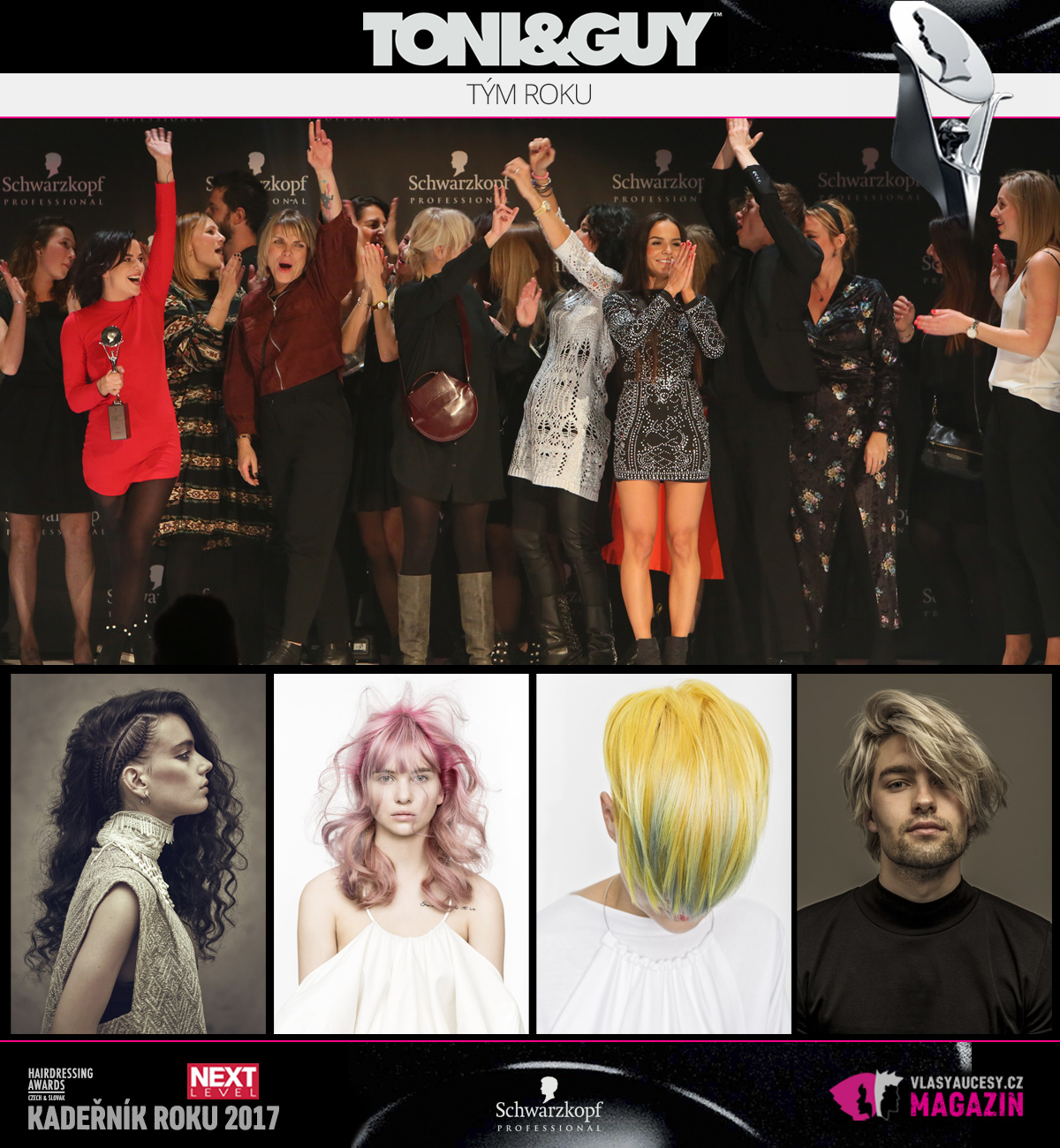 Týmem roku 2017 soutěže Czech and Slovak Hairdressing Awards je Toni&Guy.