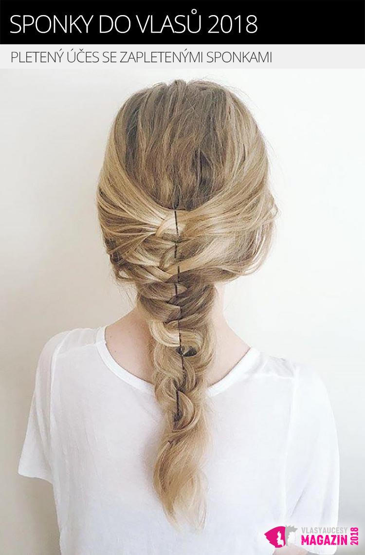 Dozdobte sponkami módní pletené účesy. Snadno dokážou potlačit vintage vzhled pletených vlasů, který není vždy žádoucí. Pletené účesy 2018 totiž mají vypadat moderně.