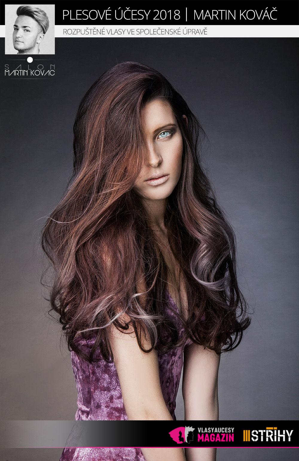 Rozpuštěné vlasy ve společenské úpravě podle Martina Kováče (Salon Martin Kováč).