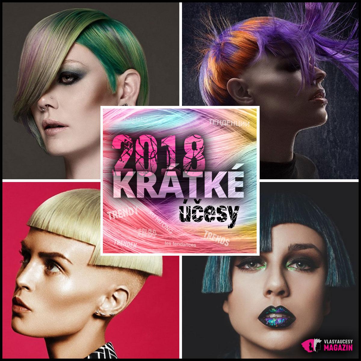 Účesy pro krátké vlasy 2018 milují netradiční ofiny, mnohdy stažené z vrchních partií hlavy. Hrají si s podholením, prostříháváním, asymetrií i různou délkou střihu.