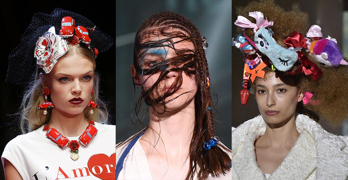 Nebojíte-li se špetky humoru a extravagance, vsaďte na regresivní módní vlasové doplňky. Pobavily a okouzlily na přehlídkách Dolce&Gabbana, Vivienne Westwood i Comme des Garçons.