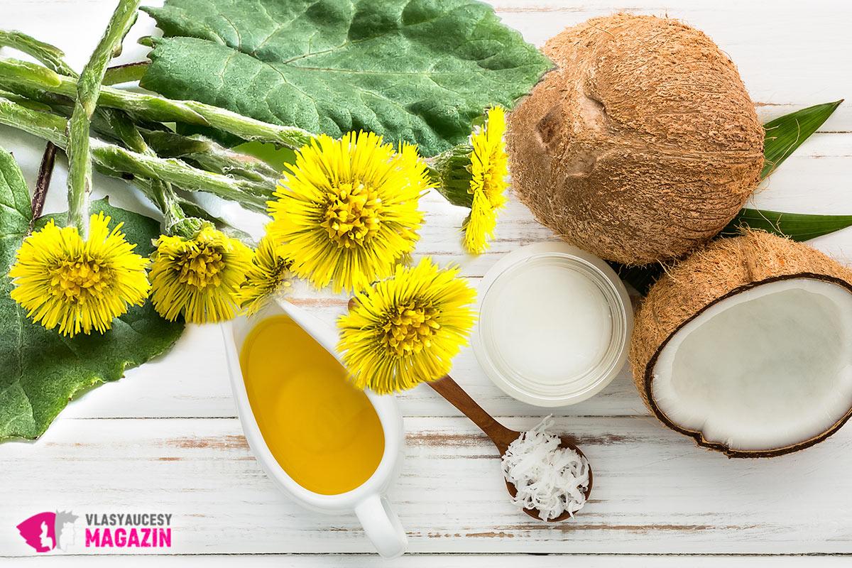 Bylinnou masku na vlasy z podbělu připravíte kombinací směsi listů a květu podbělu s kvalitním olejem pro vlasy – například s kokosovým olejem. Ale použít lze i jiný olej pro vlasy nebo směs olejů.