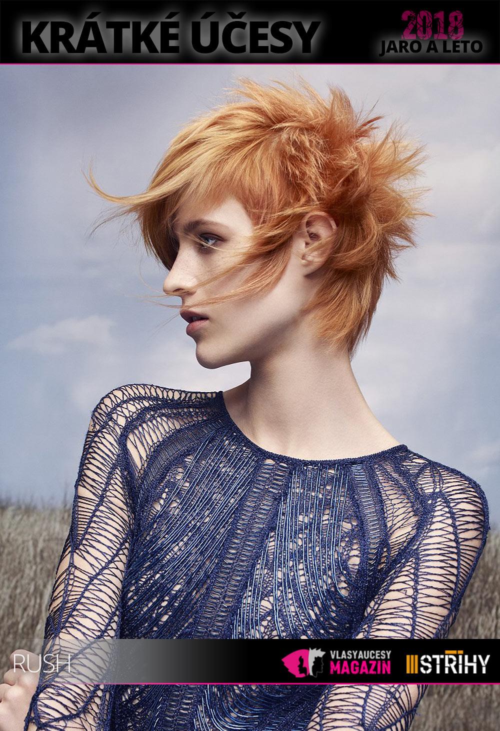 Další trend pro krátké účesy jaro/léto 2018? Shag letos letí i jako účes pro krátké vlasy. Užijte si jej! (Vlasy: Rush Artistic Team, kolekce: Lost Rebels Collection, foto: Jack Eames, make-up: Kristina Vide, styling: Robert Morrison.)