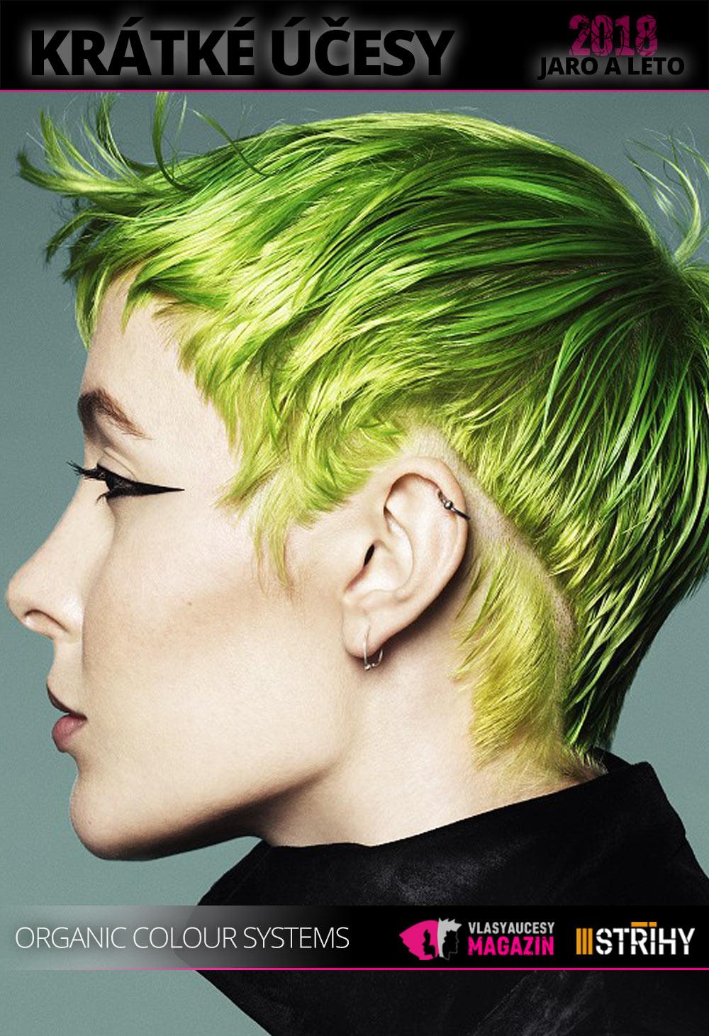 Krátké vlasy milují letos barvy. Dopřejte si krátké účesy pro jaro a léto 2018 v barvách skutečně výrazných. (Vlasy: Organic Colour Systems mentors & Karine Jackson, kolekce: Inspired Collection 2018)