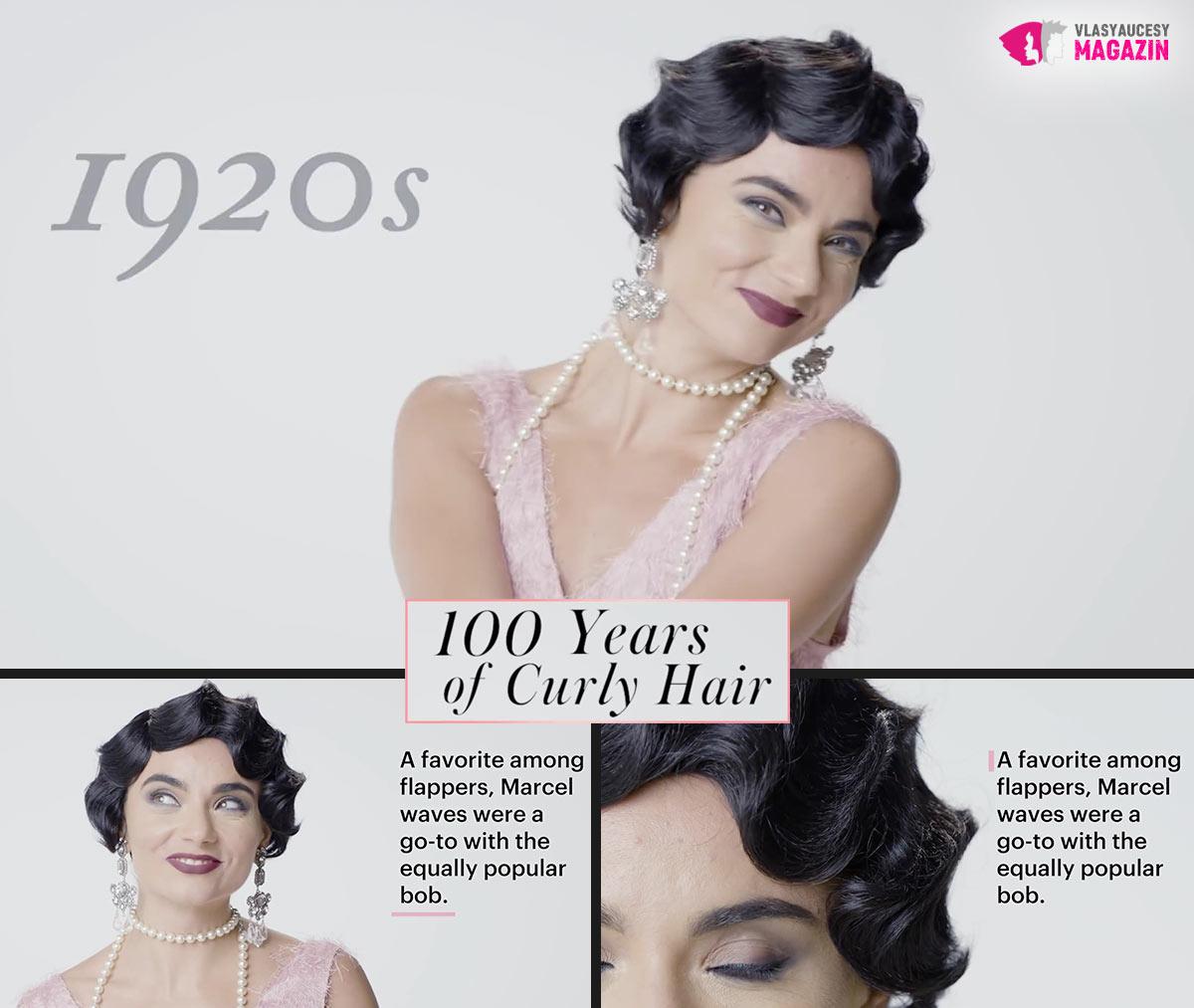 100 let kudrnatých vlasů: Kudrnaté a vlnité účesy 20 léta, to jsou uhlazené prolamované vlny na kratších vlasech.
