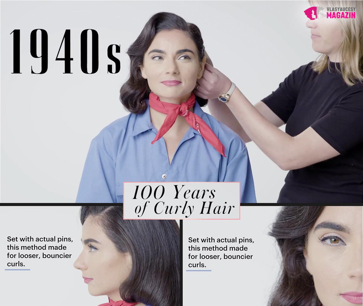 100 let kudrnatých vlasů: Kudrnaté a vlnité účesy 40. léta to jsou přiléhavé vlny.