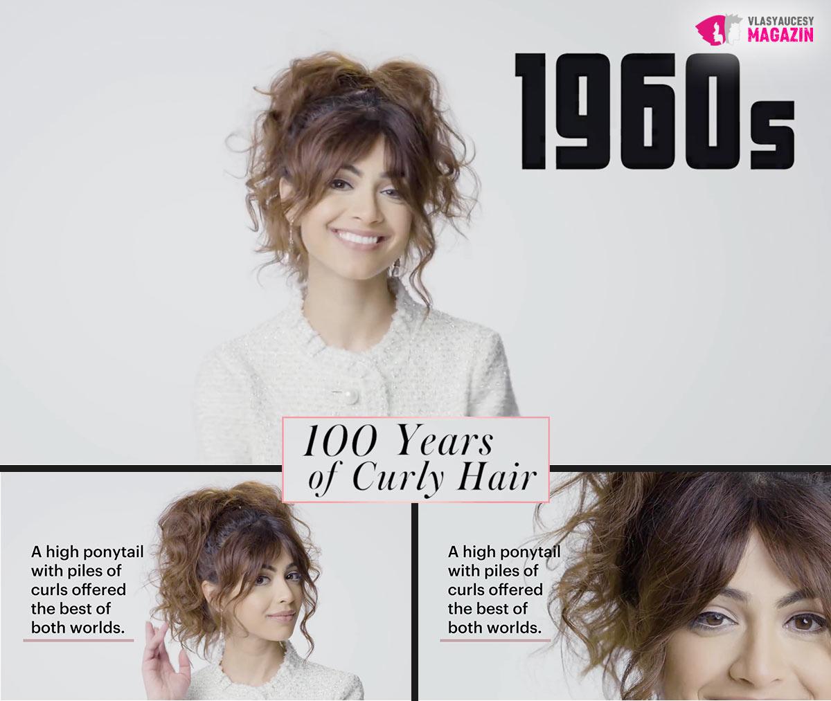 100 let kudrnatých vlasů: Kudrnaté a vlnité účesy 60. léta, to je kudrnatý drdol a vysoce posazený vlnitý cop.