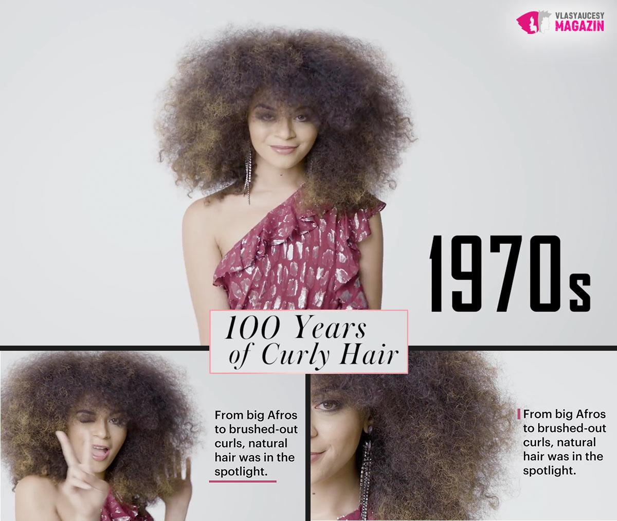 100 let kudrnatých vlasů: Kudrnaté a vlnité účesy 70. léta, to jsou vlnky a kudrlinky v afro stylu.