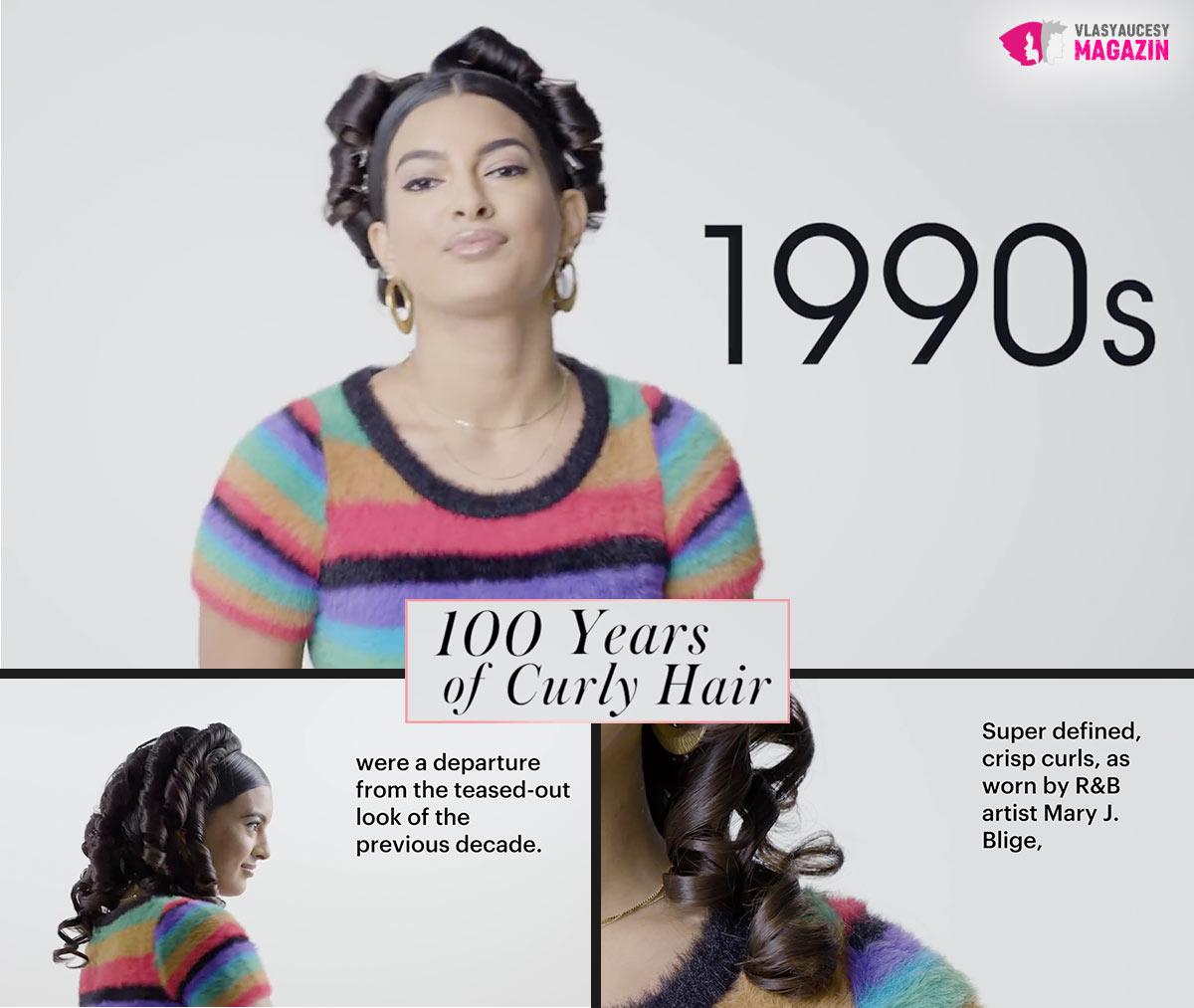 100 let kudrnatých vlasů: Kudrnaté a vlnité účesy 90. léta, to jsou candy curly.