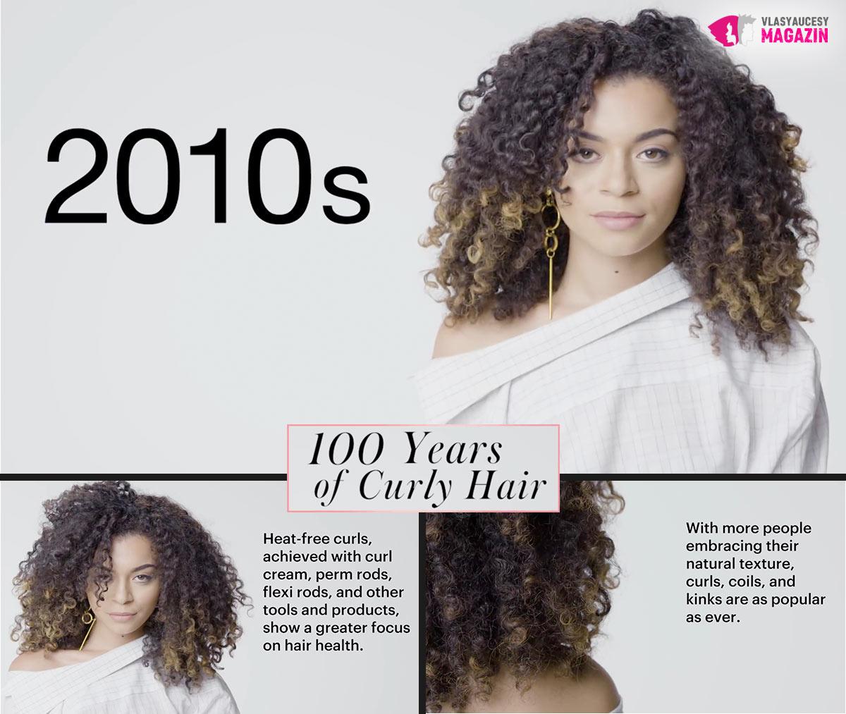 100 let kudrnatých vlasů: Kudrnaté a vlnité účesy 10. let nového milénia, to jsou natural curly a textury.
