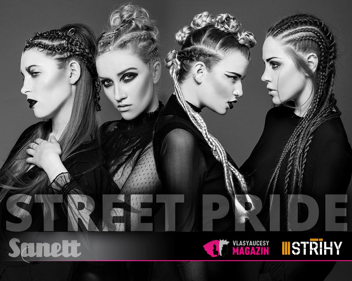 V účesech se pořád copánkuje a pletené copánky nastylované do naprosto dokonalých looků najdete v i kolekci Sanett –Street Pride. A to v kontextu inspirativních prvků módních osmdesátek.
