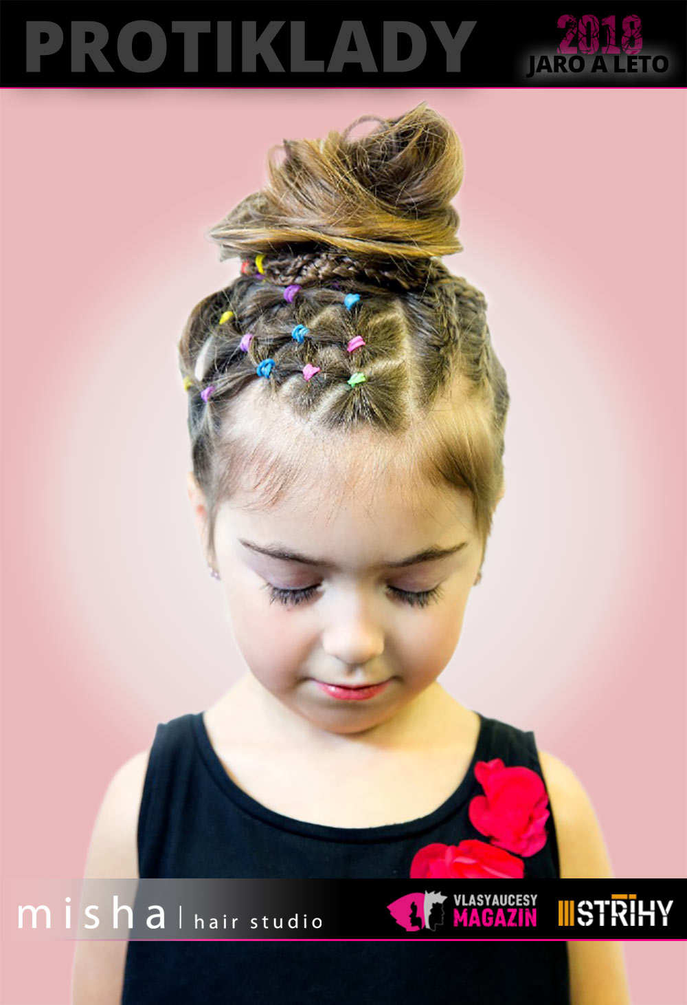 Dívčí účes 2018 z kolekce Protiklady Misha/hair Studio zdobený barevnými gumičkami.